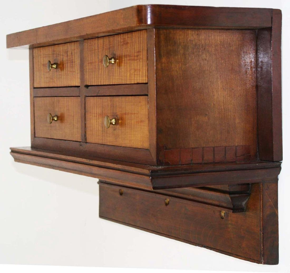 mid 19th c cherry & tiger maple 4 drawer clock shelf