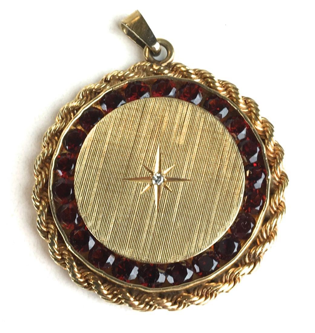 14k yellow gold diamond & garnet pendant