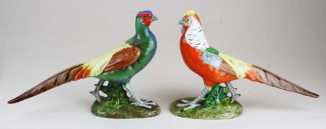 pair of Italian faience pheasant figures