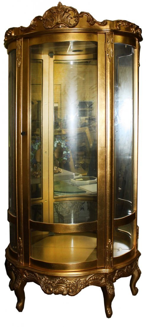 20th c gilt curved glass china cabinet