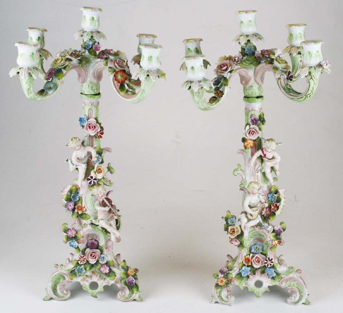Pair of Dresden two part candelabra