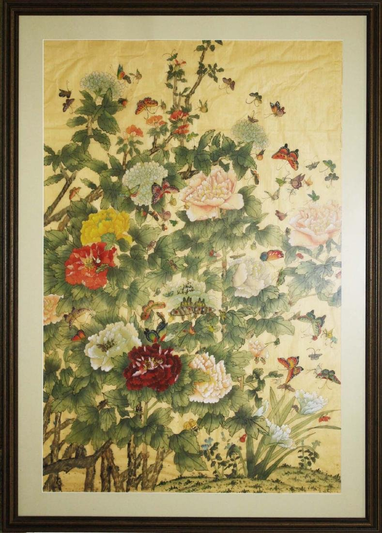 ca 1900 Chinese watercolor of flowers, butterflys