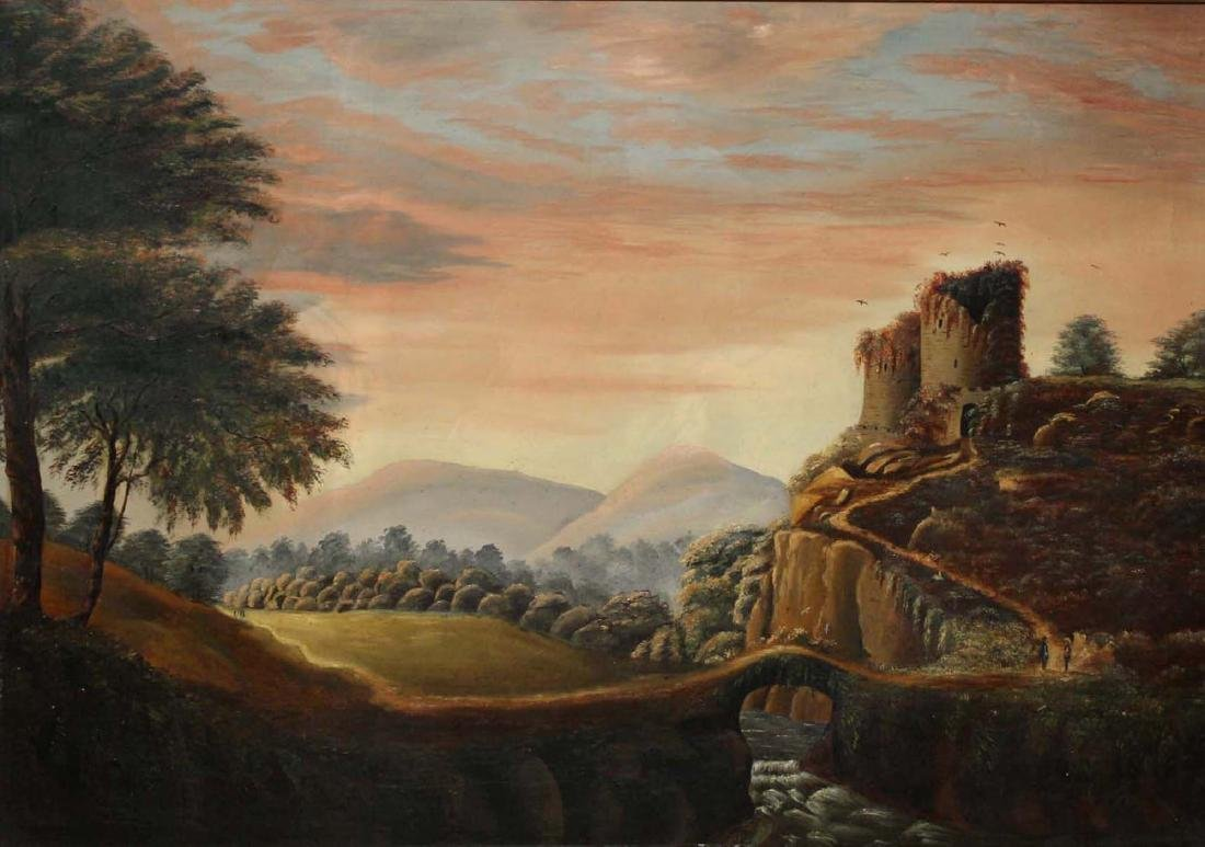 19th c American School o/c landscape with ruins