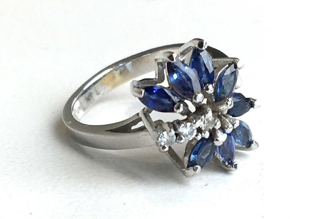 Diamond sapphire and 14k white gold ladies ring