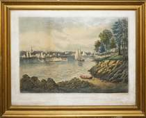 """1862 Currier & Ives """"View of Astoria, Long Island"""""""
