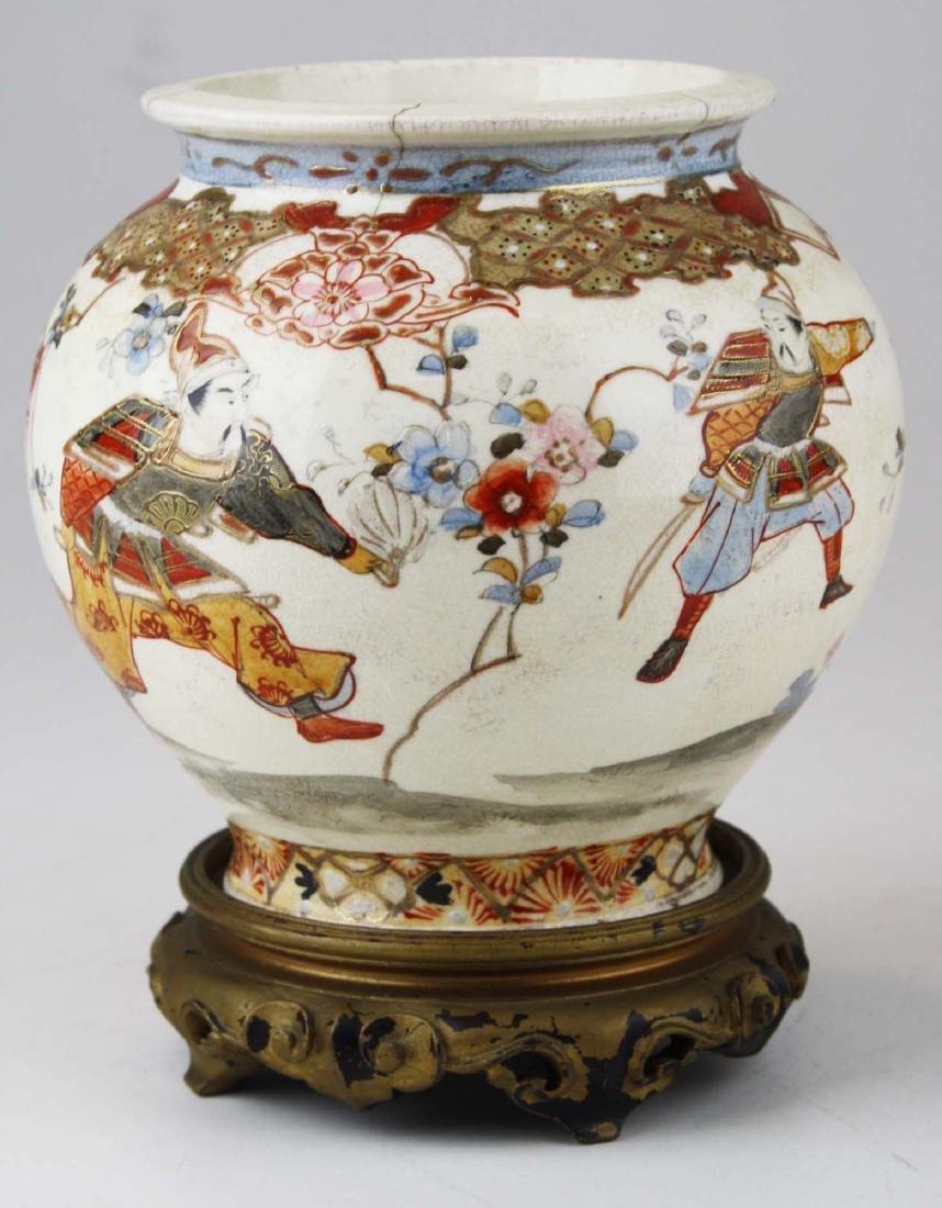 late 19th c Japanese Satsuma vase w/ warriors