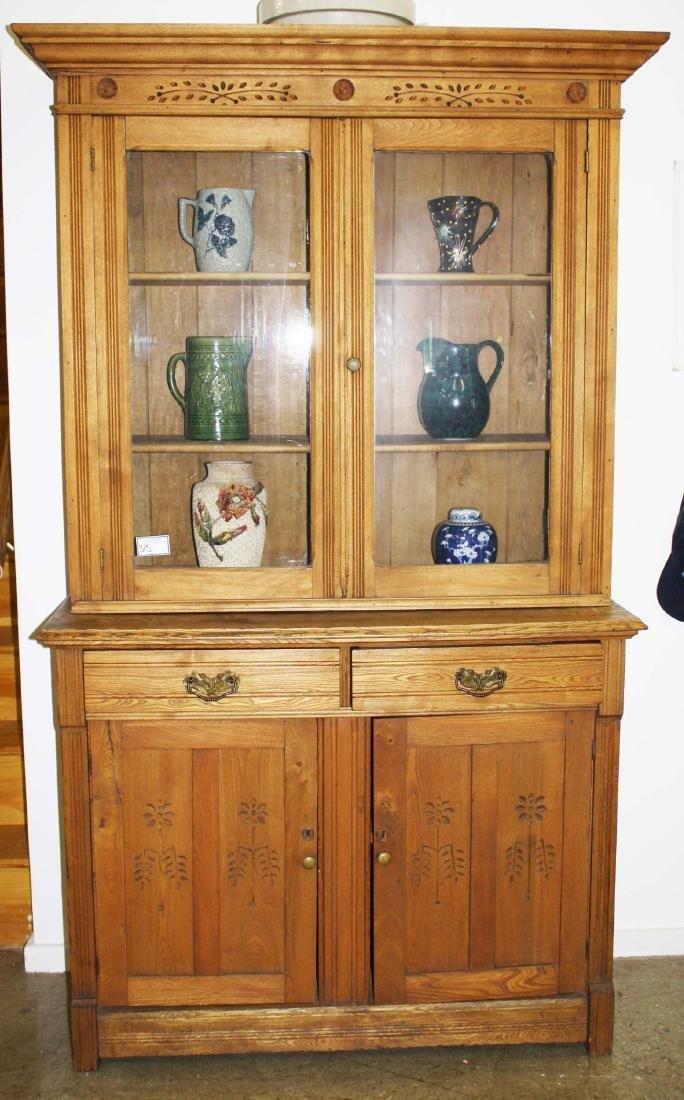Victorian oak two part cupboard