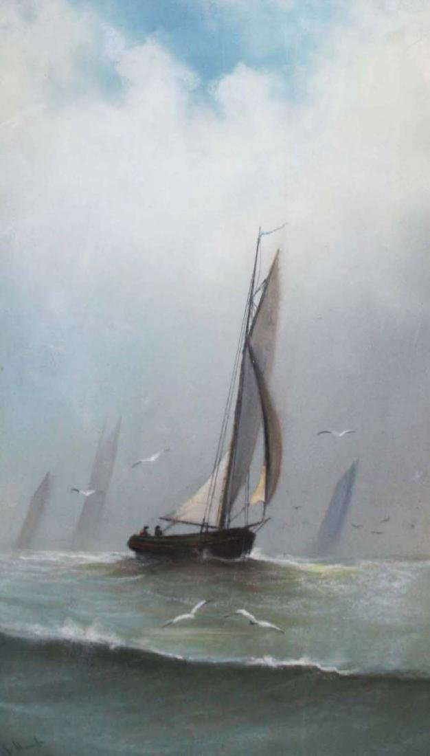 S Hunt (20th c) Pastel with ships