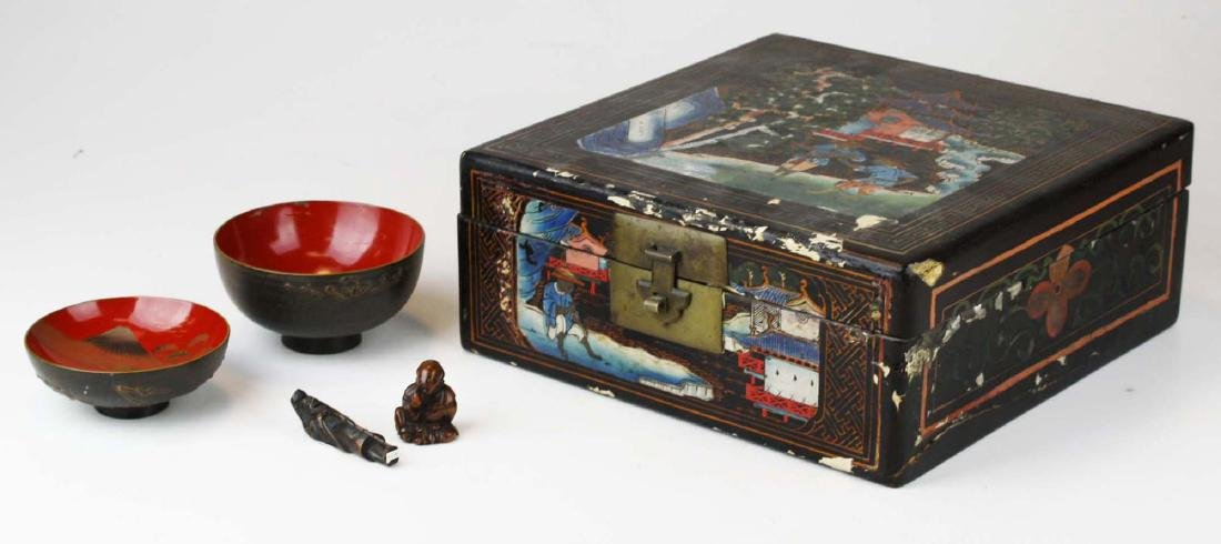 late 19th- early 20th c Japanese lacquered pcs
