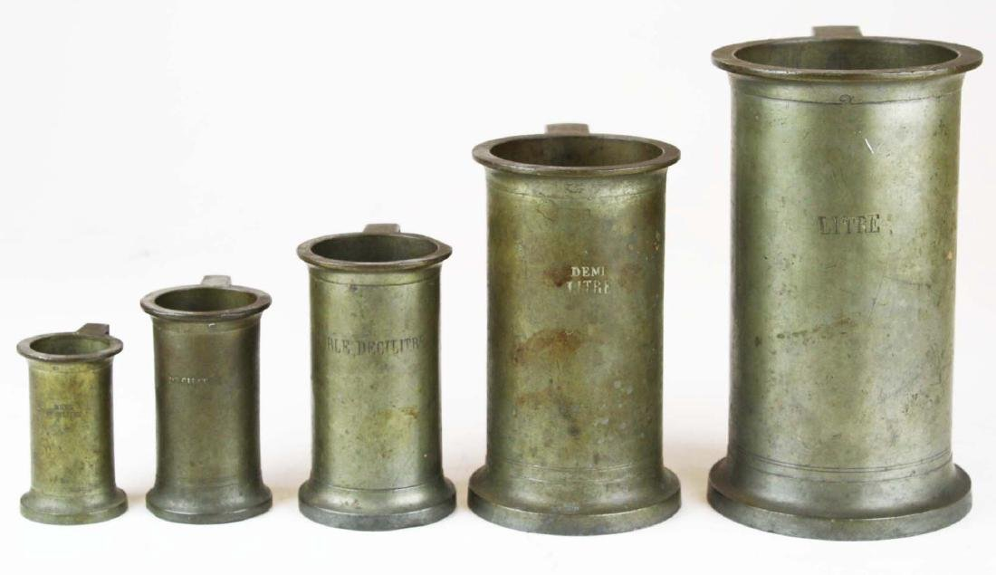 19th c  French set of 5 pewter measures signed GG
