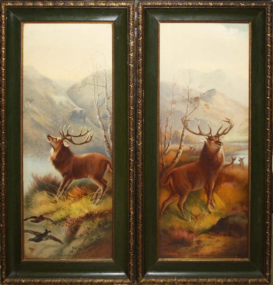 Pair of chromolithographs of elks