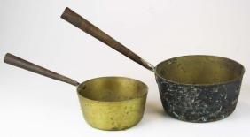Early Heavy Brass Fireplace Pots W/ Handles