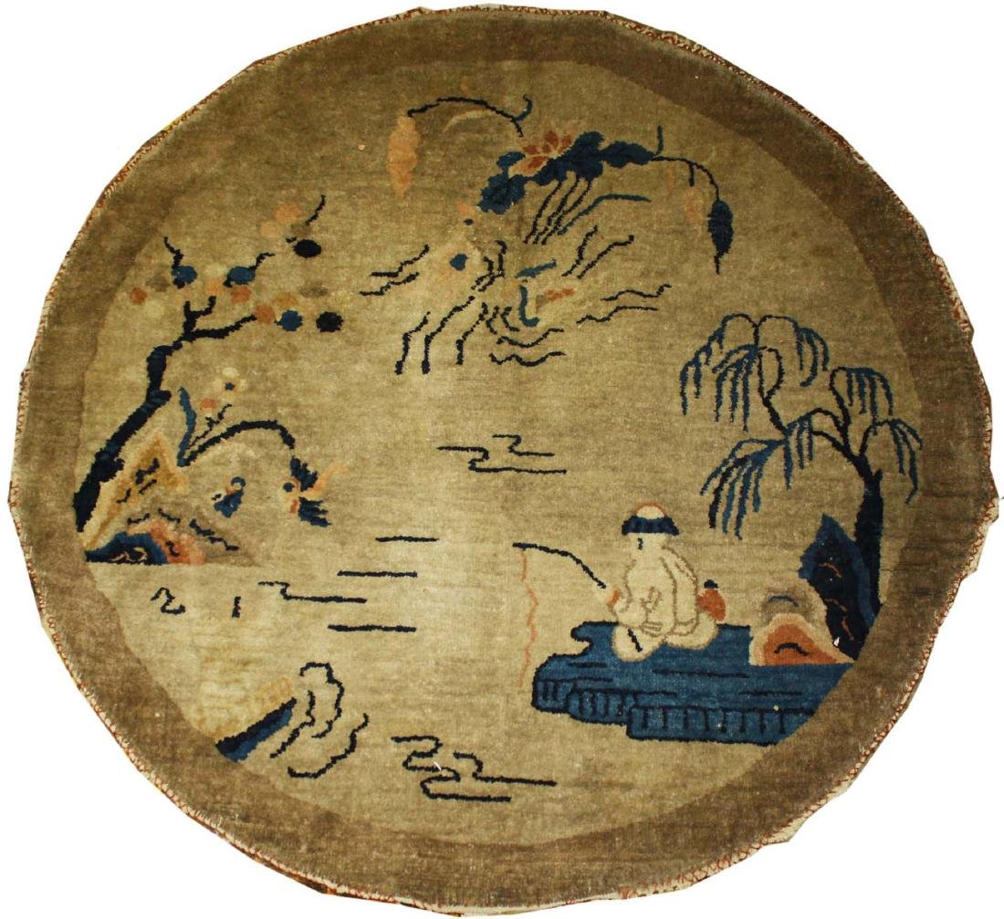 early 20th c Chinese round scatter rug