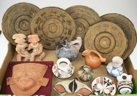 20th C Mesoamerican & Southwest Pottery, Baskets