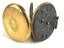 18k yellow gold English 19th c key wind pocket watch