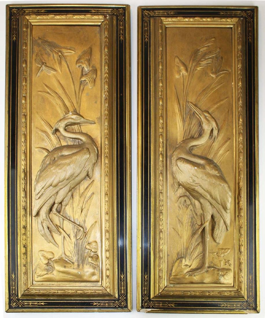 pr of 1880's gilt plaster bas reliefs of herons
