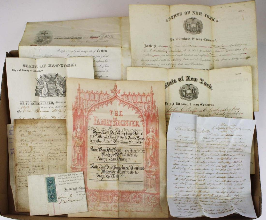 19th c Wolfe genealogy, naturalization, discharges