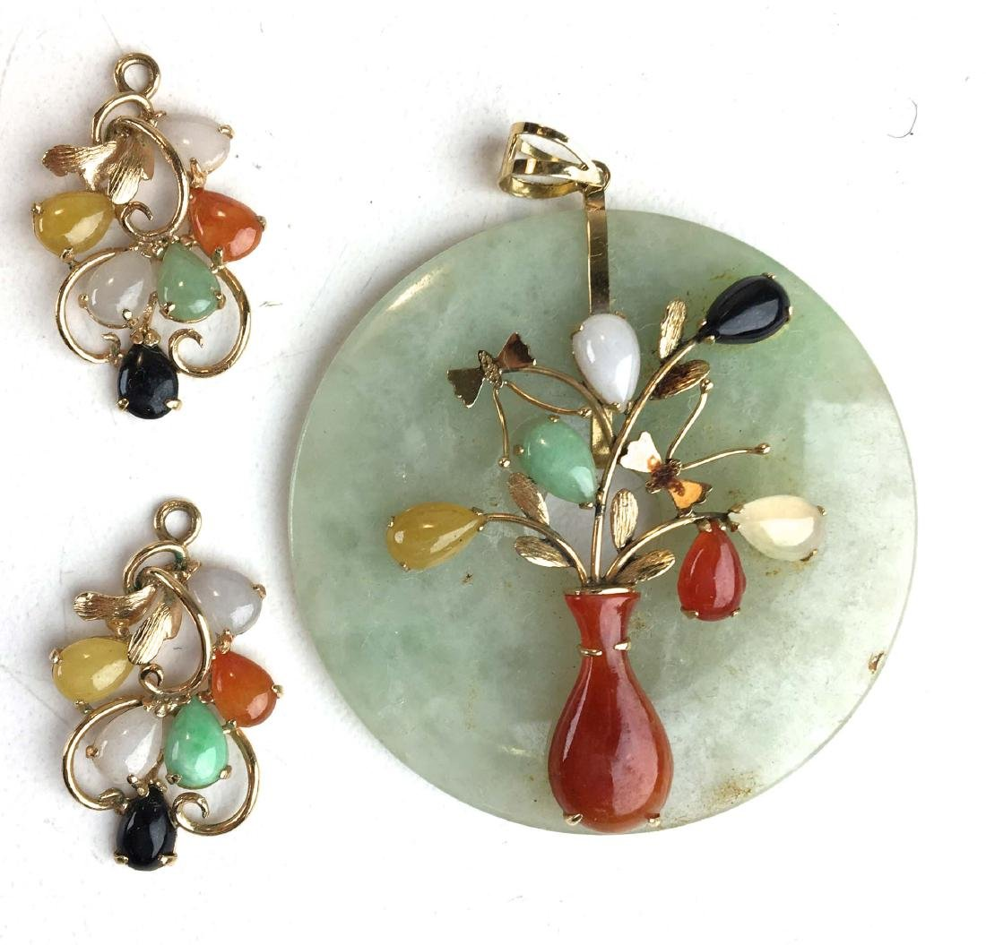 14k yellow gold and jade pendant & earrings