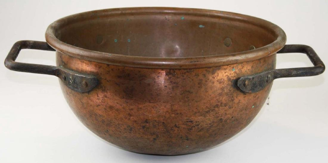 19th c heavy copper & iron round cooking pot
