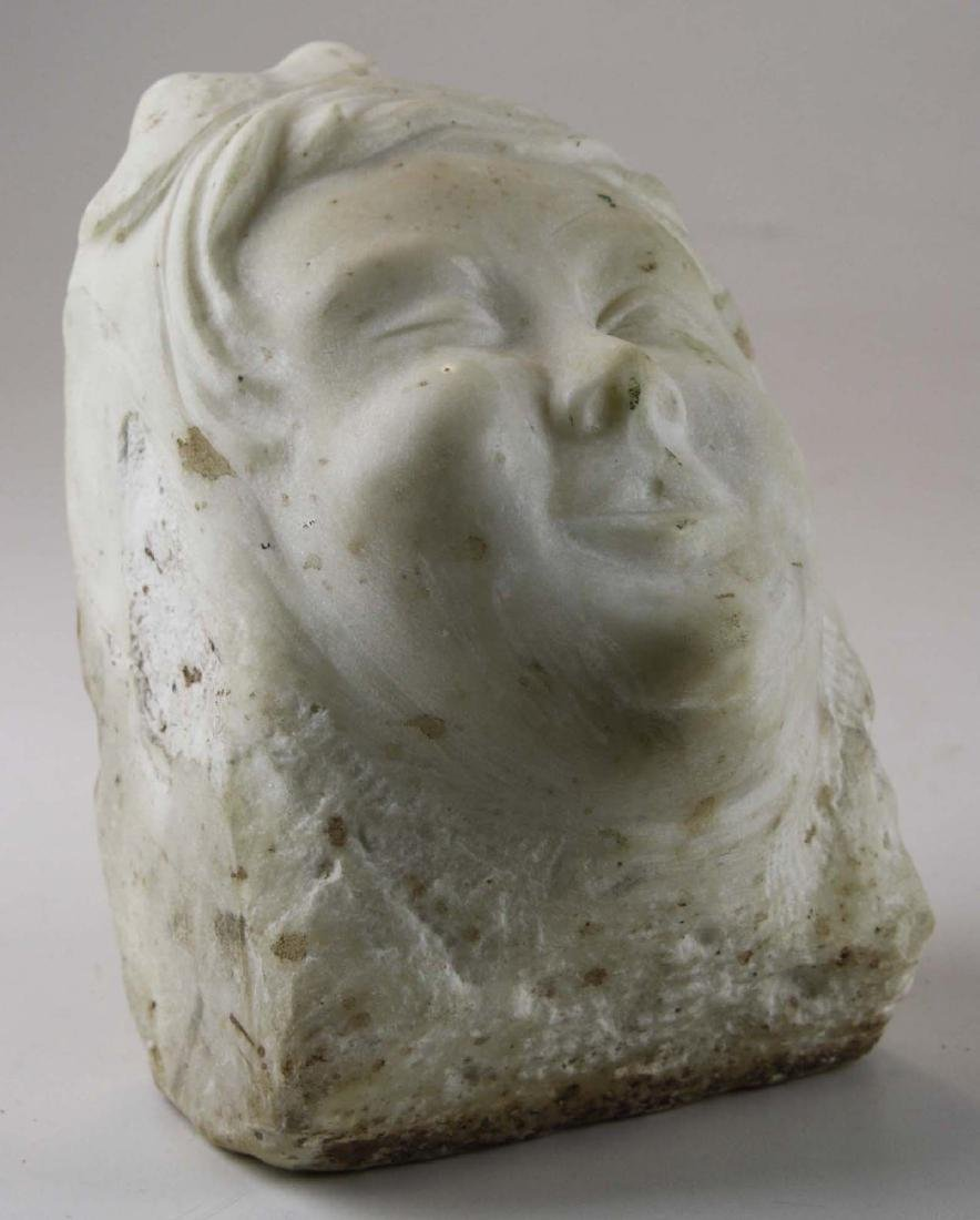 late 19th c marble bas relief of a woman winking
