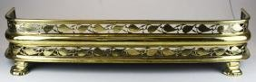 19th C English Pierced Brass Fireplace Fender