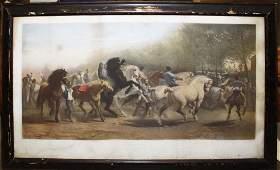 19th c hand colored lithograph The Horse Fair