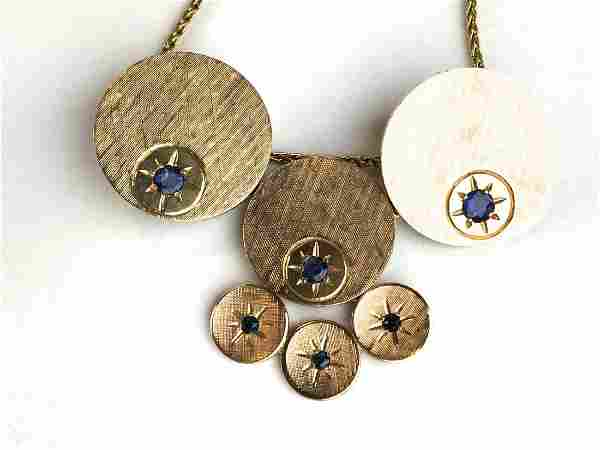 Modern 14k y g sapphire pendant and chain