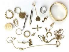 14k yellow gold mixed jewelry lot
