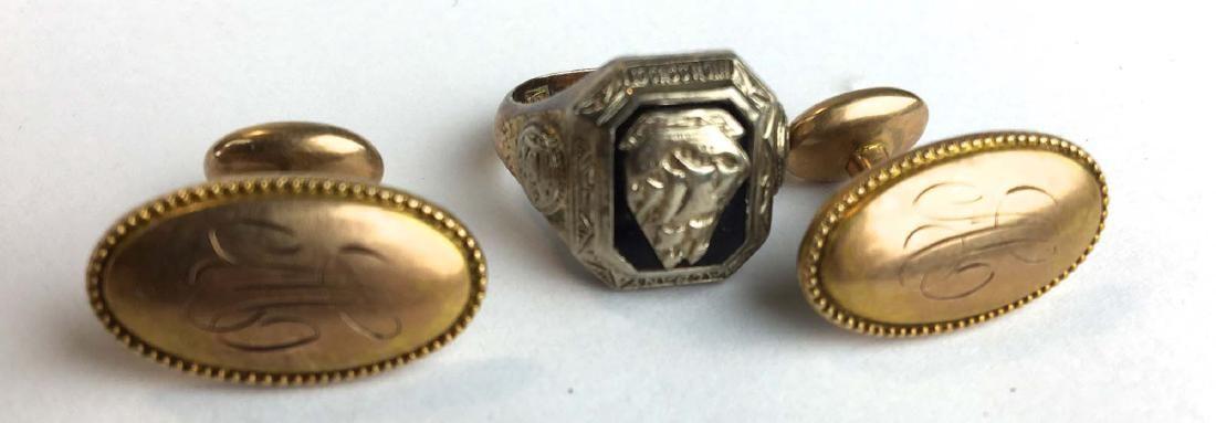 Men's 14k gold cufflinks and 10k gold ring
