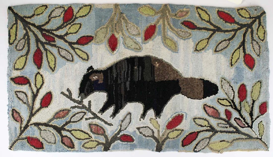 early 20th c hooked rug w/ folky beaver & branches