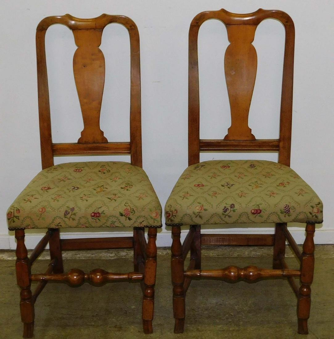 Pair of 18th c Queen Anne Spanish foot chairs