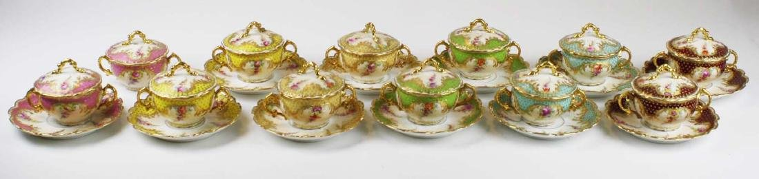 late 19th c Dresden Lamm porcelain bouillon cups