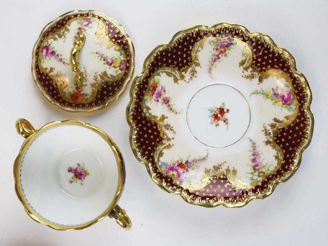 late 19th c Dresden Lamm porcelain bouillon cups - 3