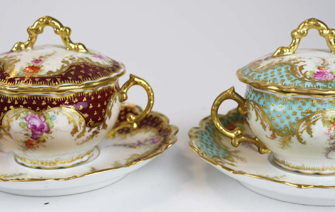 late 19th c Dresden Lamm porcelain bouillon cups - 8