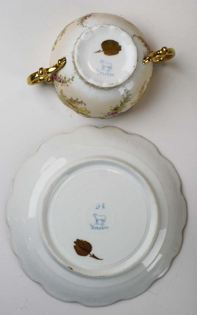 late 19th c Dresden Lamm porcelain bouillon cups - 9