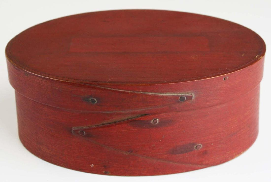 19th c Shaker oval box in red paint