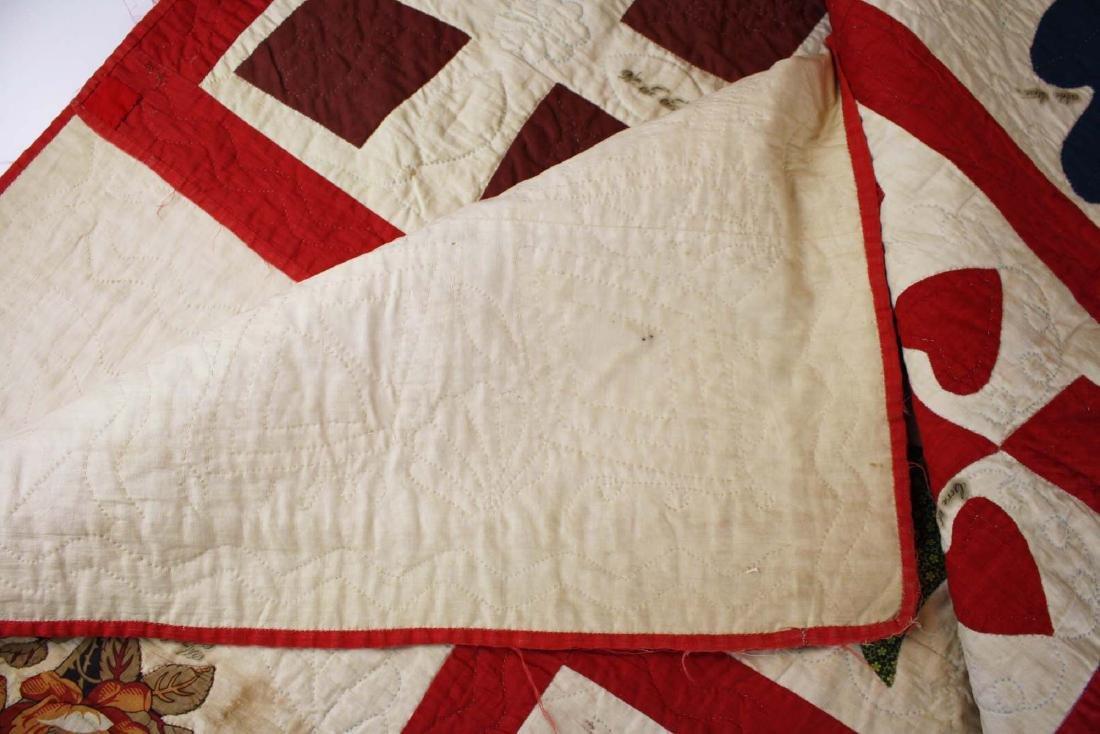 19th c applique commemorative quilt- possibly PA - 10