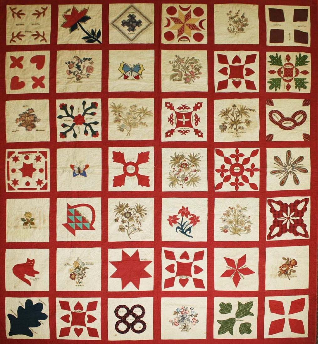 19th c applique commemorative quilt- possibly PA