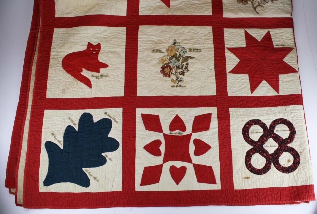 19th c applique commemorative quilt- possibly PA - 2