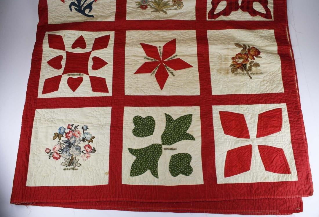 19th c applique commemorative quilt- possibly PA - 3