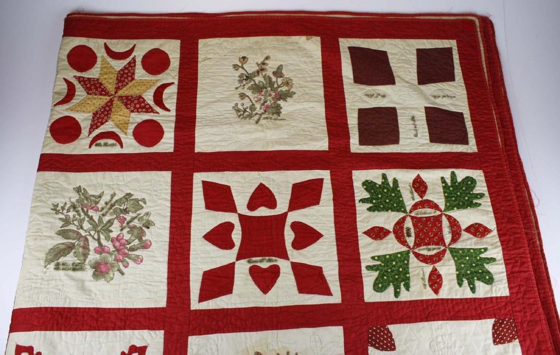 19th c applique commemorative quilt- possibly PA - 4