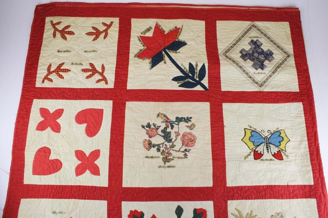 19th c applique commemorative quilt- possibly PA - 5