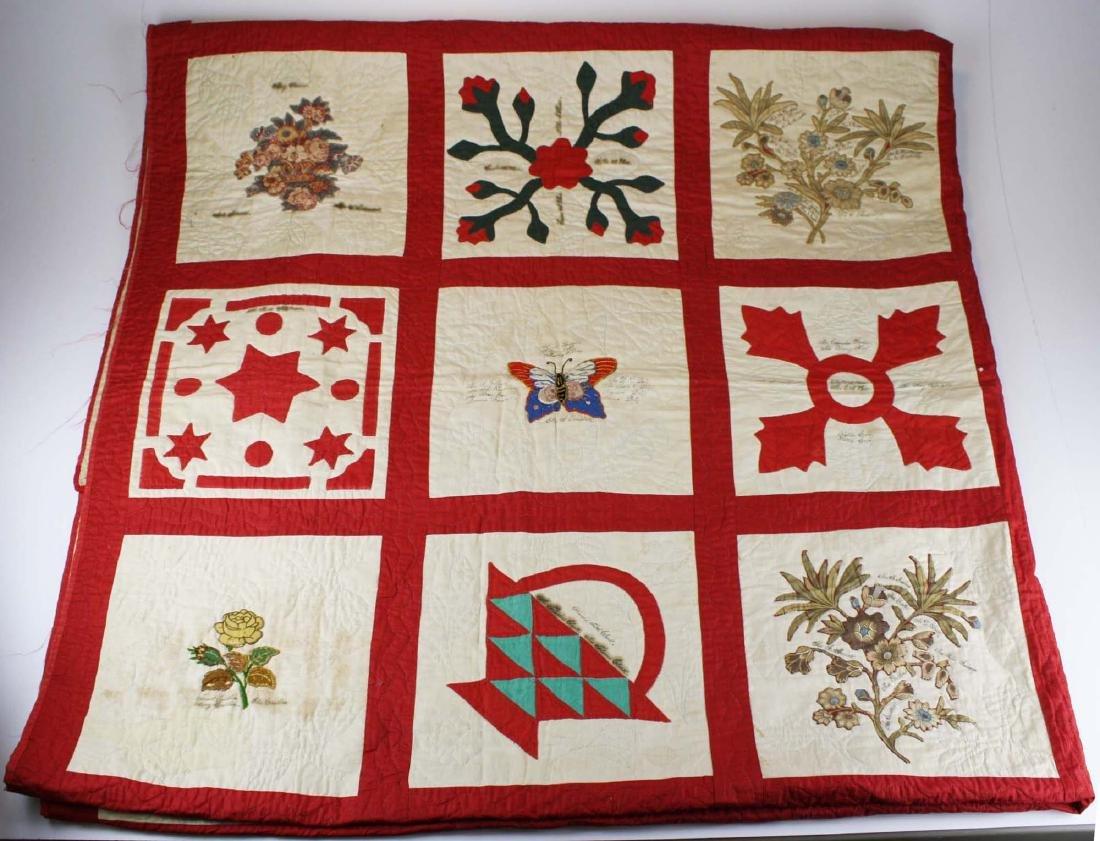 19th c applique commemorative quilt- possibly PA - 6