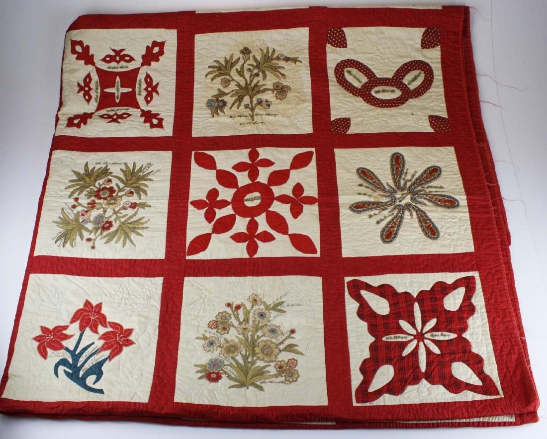 19th c applique commemorative quilt- possibly PA - 7