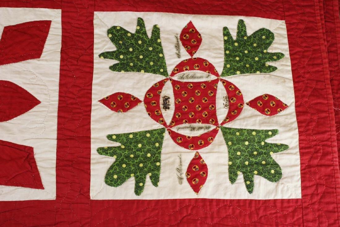 19th c applique commemorative quilt- possibly PA - 8