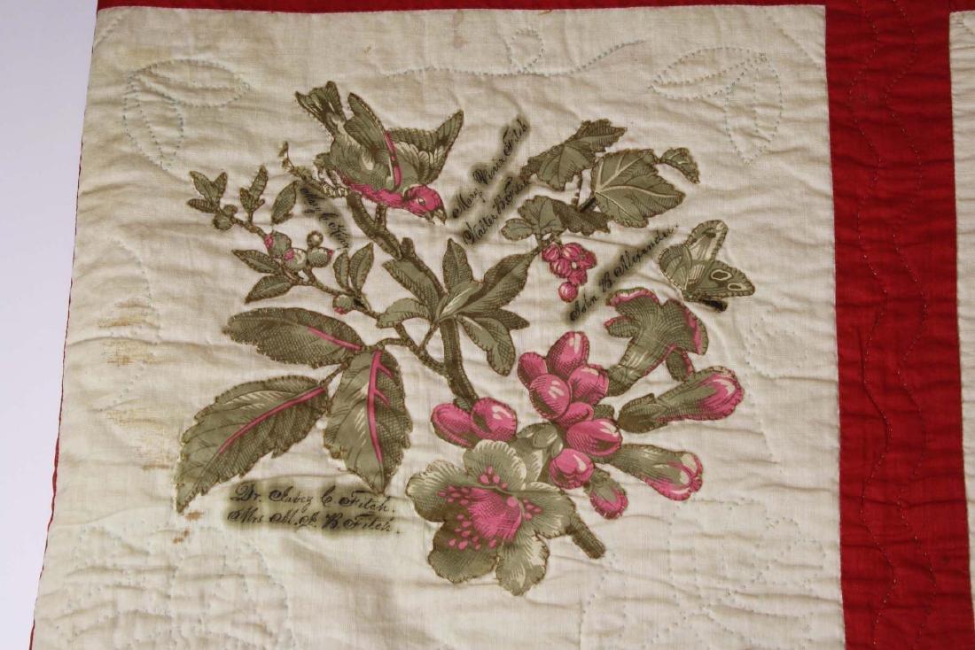 19th c applique commemorative quilt- possibly PA - 9