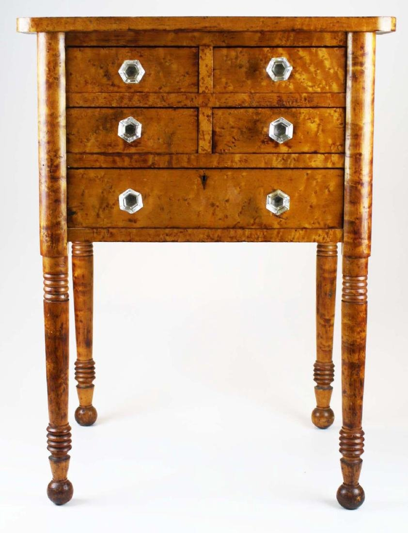19th c Sheraton birds eye maple stand