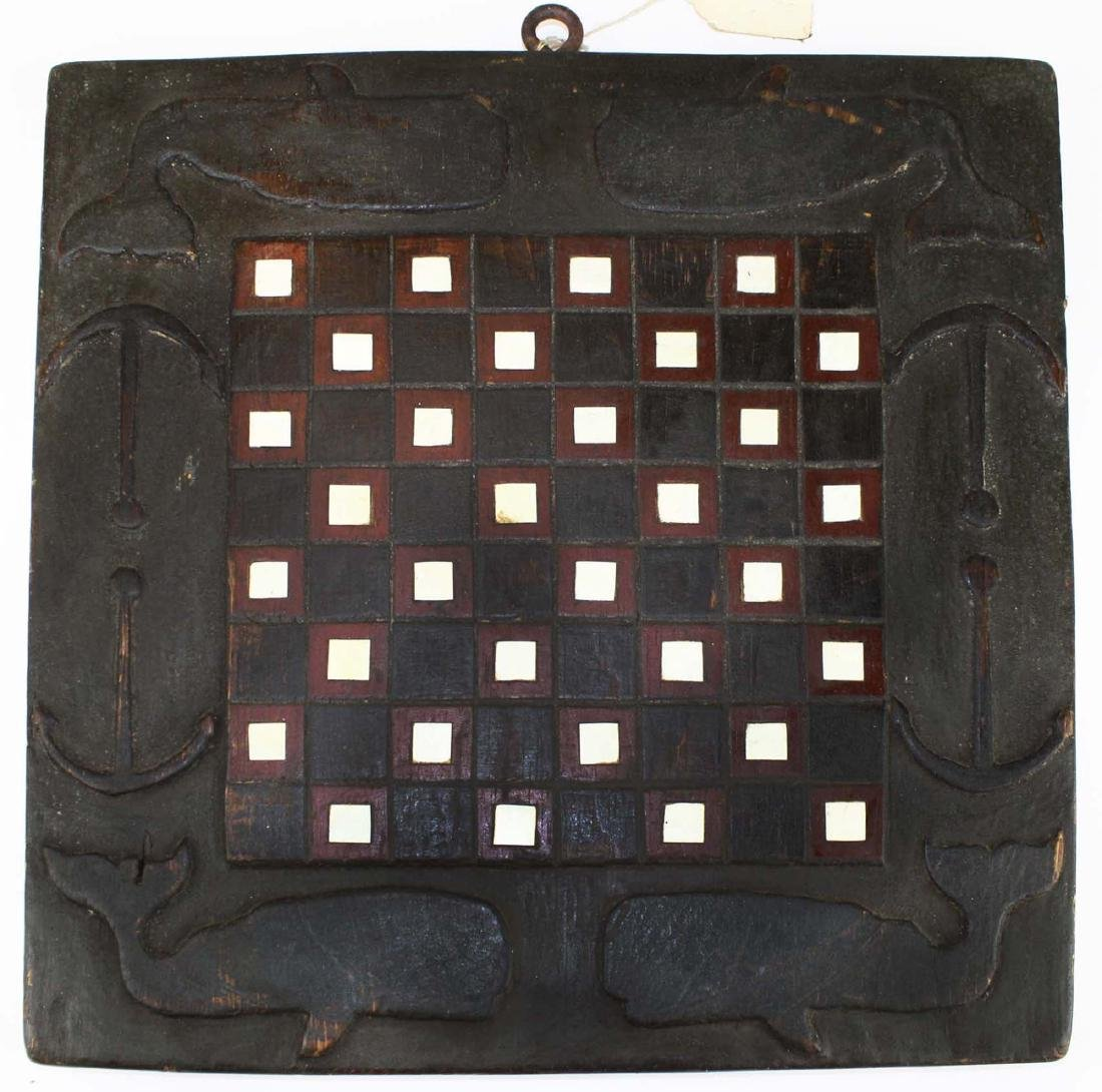 19th c game board w/ carved whales & anchors