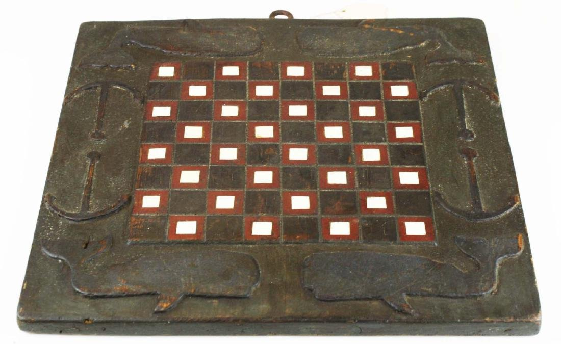 19th c game board w/ carved whales & anchors - 2