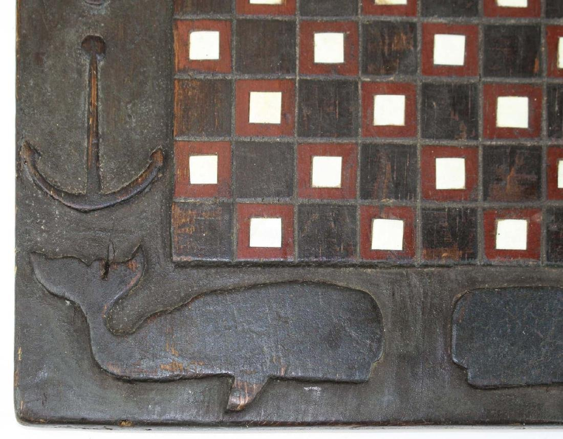 19th c game board w/ carved whales & anchors - 3